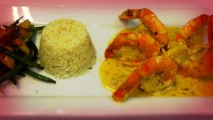 Shrimp with white wine sauce